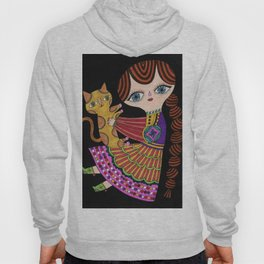 girl with cat in black Hoody