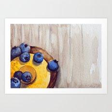 Yellow and blue -watercolors Art Print