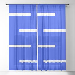 Abstract Minimal Retro Stripes Blue Sheer Curtain