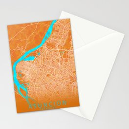 Asuncion, Paraguay, Gold, Blue, City, Map Stationery Cards