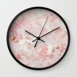 Vintage Floral Rose Roses painterly pattern in pink Wall Clock