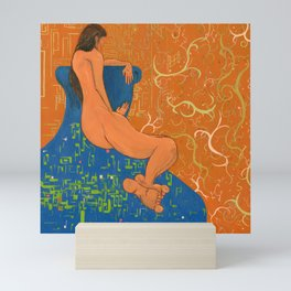 Nude on Blue Couch Mini Art Print