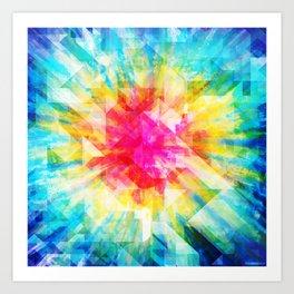 GEOMETRIC TIE DYE (Rainbow, Multi color) Art Print