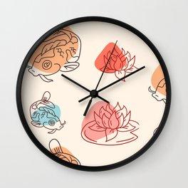Chinese Koi and Lotus Pattern Wall Clock