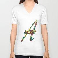 font V-neck T-shirts featuring A font by riz lau