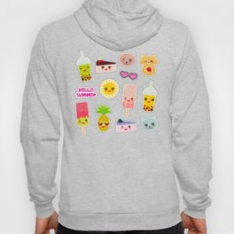 Hello Summer. Pineapple, cherry smoothie cup, ice cream, sun, cat, cake, hamster. Kawaii cute face. Hoody