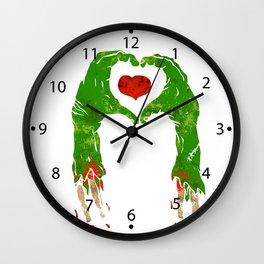 zombie hand making heart Wall Clock