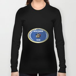 Wisconsin State Flag Oval Button Long Sleeve T-shirt
