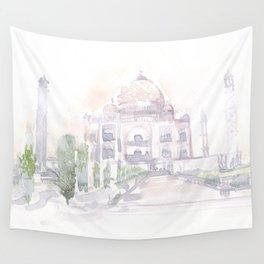 Watercolor landscape illustration_India - Taj Mahal Wall Tapestry