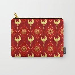 Gold Phoenix and lotus symbol pattern on red Carry-All Pouch