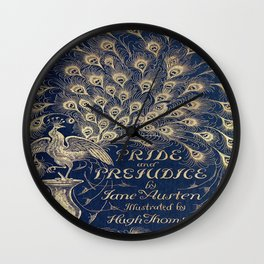 Pride and Prejudice, Peacock; Vintage Book Cover Wall Clock