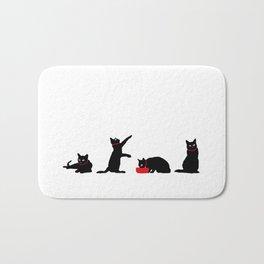 Cats Black on White Bath Mat
