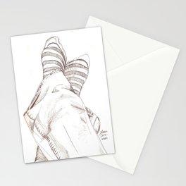 Still Life of Feet in Striped Socks Stationery Cards