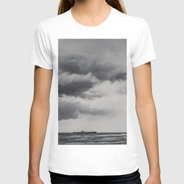 Storm Clouds Gathering Over Shipwreck, Abandoned Shipwreck In Ocean, Seascape Print Photo, Wall Art T-shirt