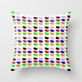Map of Usa -america,us,united states,american,new york,hollywood,spangled,banner,star and strips Throw Pillow