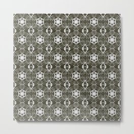 Pewter Gray and White Floral Geometric Pattern Metal Print