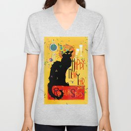 Chat Noir New Years Party Countdown Unisex V-Neck