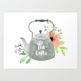 Watercolor Flower Teapot Art Print