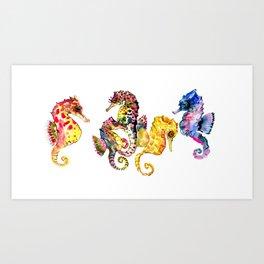 Seahorses, coral reef animals art, children playing room design decor Art Print