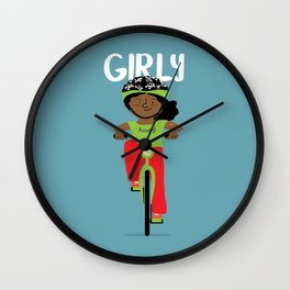 Positively girly - Black bicycle girl Wall Clock