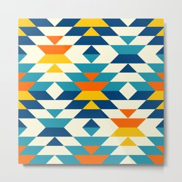Bohemian large aztec diamonds blue pattern Metal Print
