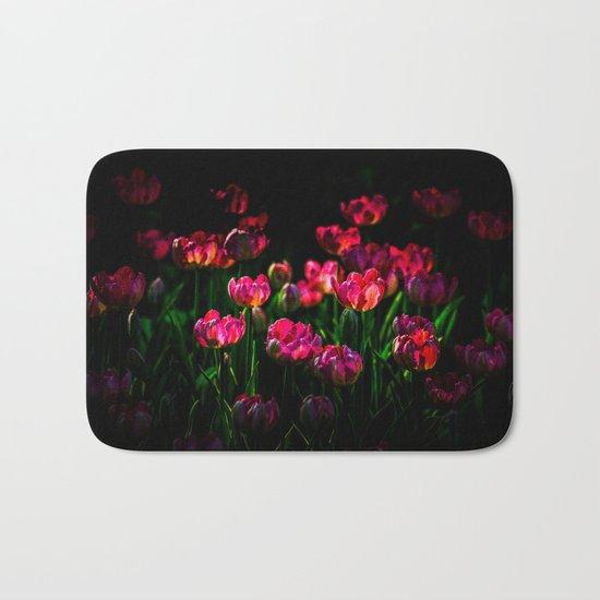 Pink tulip flowers Bath Mat
