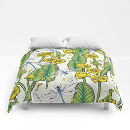 yellow water lilies and dragonflies Comforters