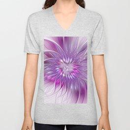 Pink Flower Passion, Abstract Fractal Art Unisex V-Neck