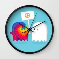hippie Wall Clocks featuring Hippie ghost by Picomodi