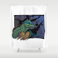 tmnt Shower Curtains featuring TMNT Leo by Leonardo LAGONZA Gonzalez