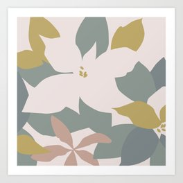 Leafy Floral Collage on Pale Pink Art Print