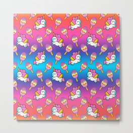 Cute happy pretty magical unicorns kittens, sweet adorable yummy colorful Kawaii rainbow ice cream popsicles cartoon summer bright white and blue summer pattern design Metal Print
