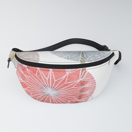 Red dandelions, watercolor Fanny Pack
