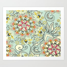 Robin's egg blue floral mandala Art Print