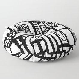 Old Victorian House - black & white Floor Pillow