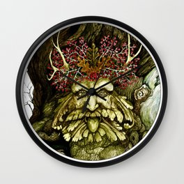 Green Man of the Wood Poster Version Wall Clock