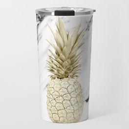 Gold Pineapple on Marble Travel Mug