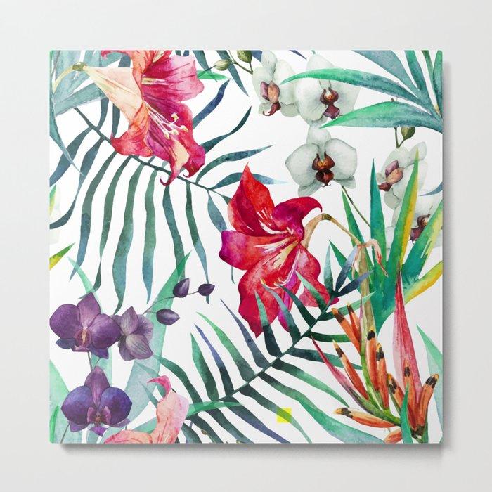 Tropical Watercolor Floral Metal Print
