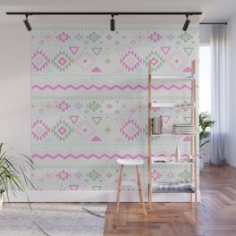 Blush Pink green geometrical aztec tribal Wall Mural