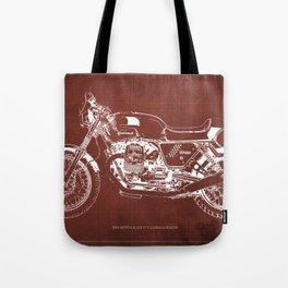 2010 Moto Guzzi V7 Clubman Racer red blueprint Tote Bag