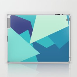 Retro Blue Mid-century Minimalist Geometric Line Abstract Art Laptop & iPad Skin