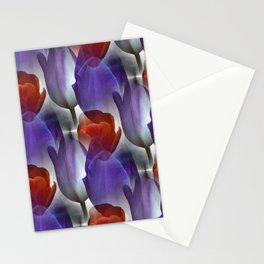 pattern with red and purple tulips Stationery Cards