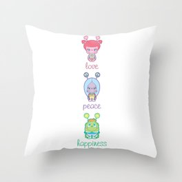 Love, Peace, Happiness Throw Pillow