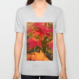 Fiery Autumn Maple Leaves 4966 Unisex V-Neck