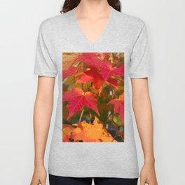 Fiery Autumn Maple Leaves 4966 Unisex V-Neck