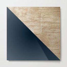 Geometric Navy and Wood Metal Print