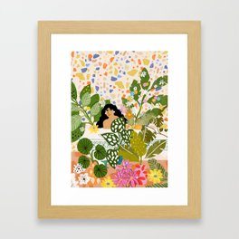 Bathing with Plants Framed Art Print