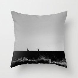 Sailboats from the seashore Throw Pillow