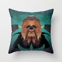 chewbacca Throw Pillows featuring Chewbacca by lazylaves