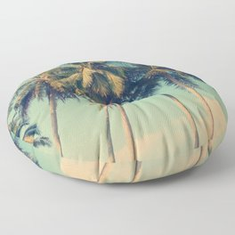 Aloha! Retro palm tree on the beach - summer vibes vintage illustration Floor Pillow